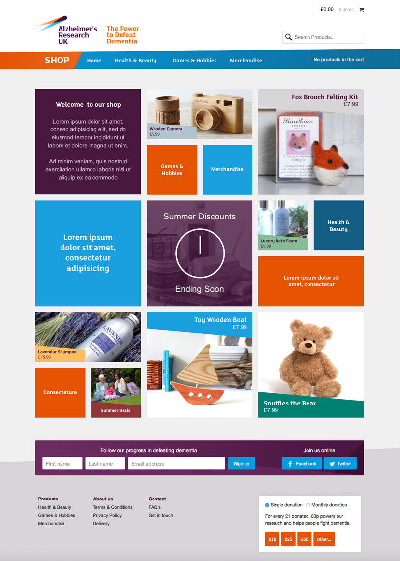 Alzheimers Research UK Website Shop
